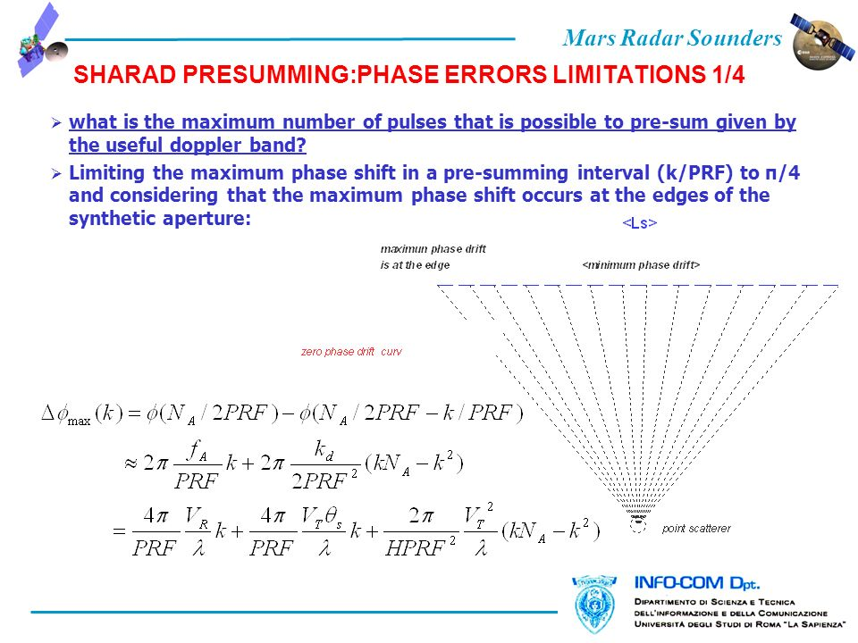 Mars Radar Sounders SHARAD PRESUMMING:PHASE ERRORS LIMITATIONS 1/4 what is the maximum number of pulses that is possible to pre-sum given by the usefu