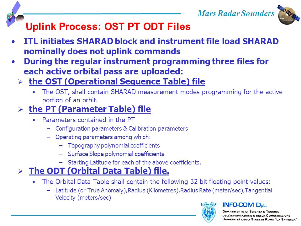 Mars Radar Sounders Uplink Process: OST PT ODT Files ITL initiates SHARAD block and instrument file load SHARAD nominally does not uplink commands During the regular instrument programming three files for each active orbital pass are uploaded: the OST (Operational Sequence Table) file The OST, shall contain SHARAD measurement modes programming for the active portion of an orbit.