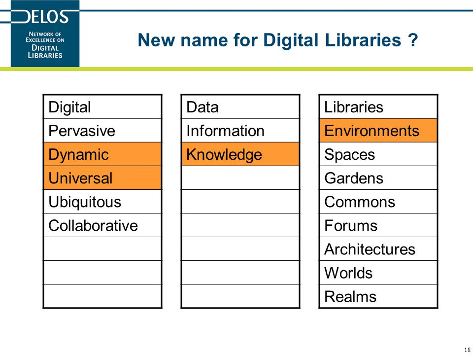 18 New name for Digital Libraries ? Libraries Environments Spaces Gardens Commons Forums Architectures Worlds Realms Data Information Knowledge Digita