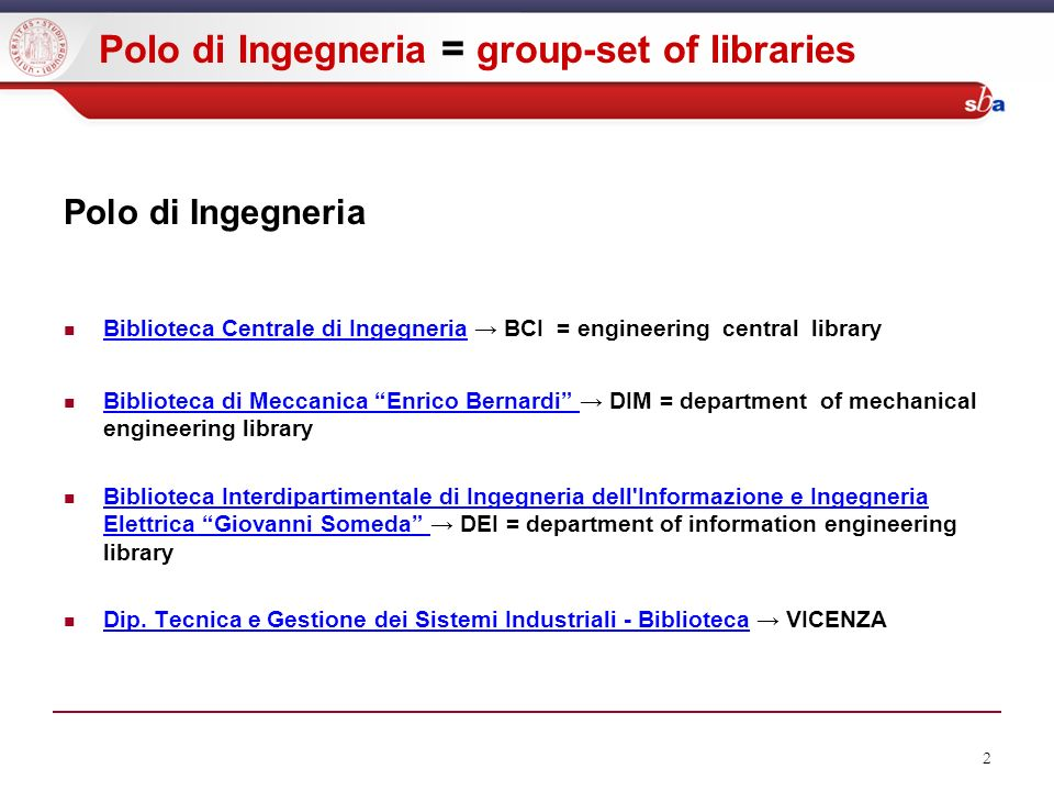 2 Polo di Ingegneria = group-set of libraries Polo di Ingegneria Biblioteca Centrale di Ingegneria BCI = engineering central library Biblioteca Centra