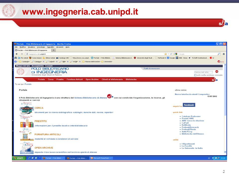 2 www.ingegneria.cab.unipd.it