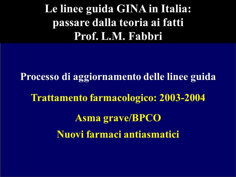 Le linee guida GINA in Italia: passare dalla teoria ai fatti Prof. L.M. Fabbri Processo di aggiornamento delle linee guida Trattamento farmacologico: