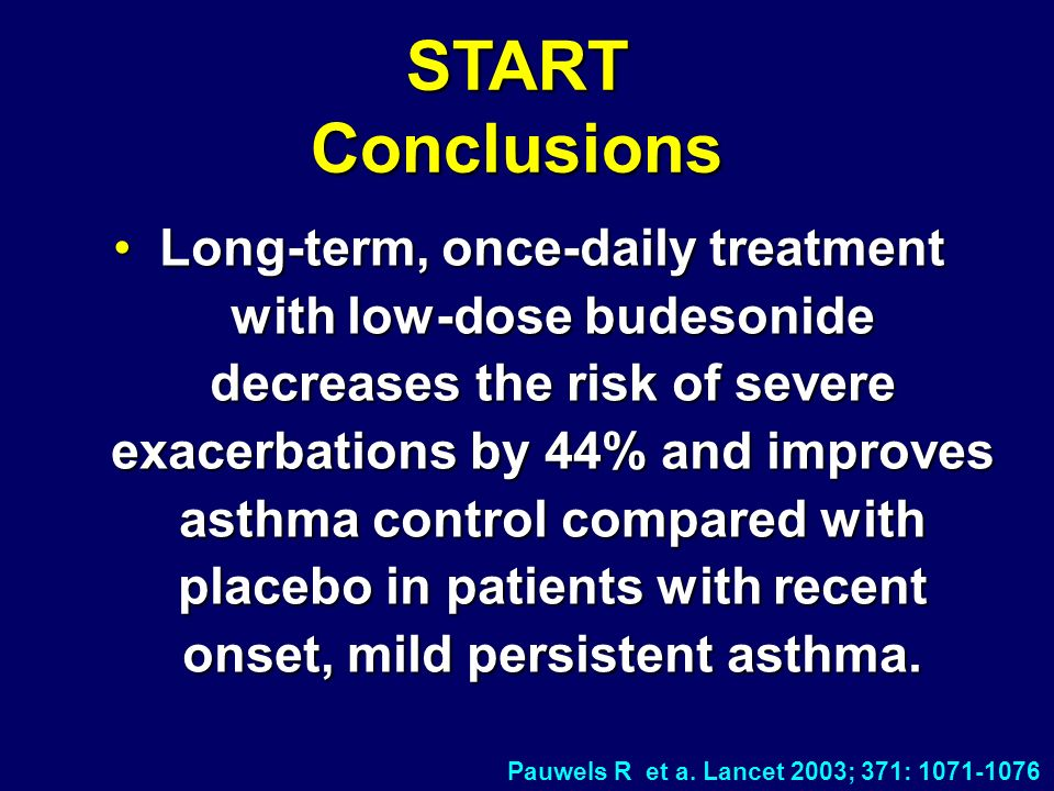 Long-term, once-daily treatment with low-dose budesonide decreases the risk of severe exacerbations by 44% and improves asthma control compared with placebo in patients with recent onset, mild persistent asthma.Long-term, once-daily treatment with low-dose budesonide decreases the risk of severe exacerbations by 44% and improves asthma control compared with placebo in patients with recent onset, mild persistent asthma.