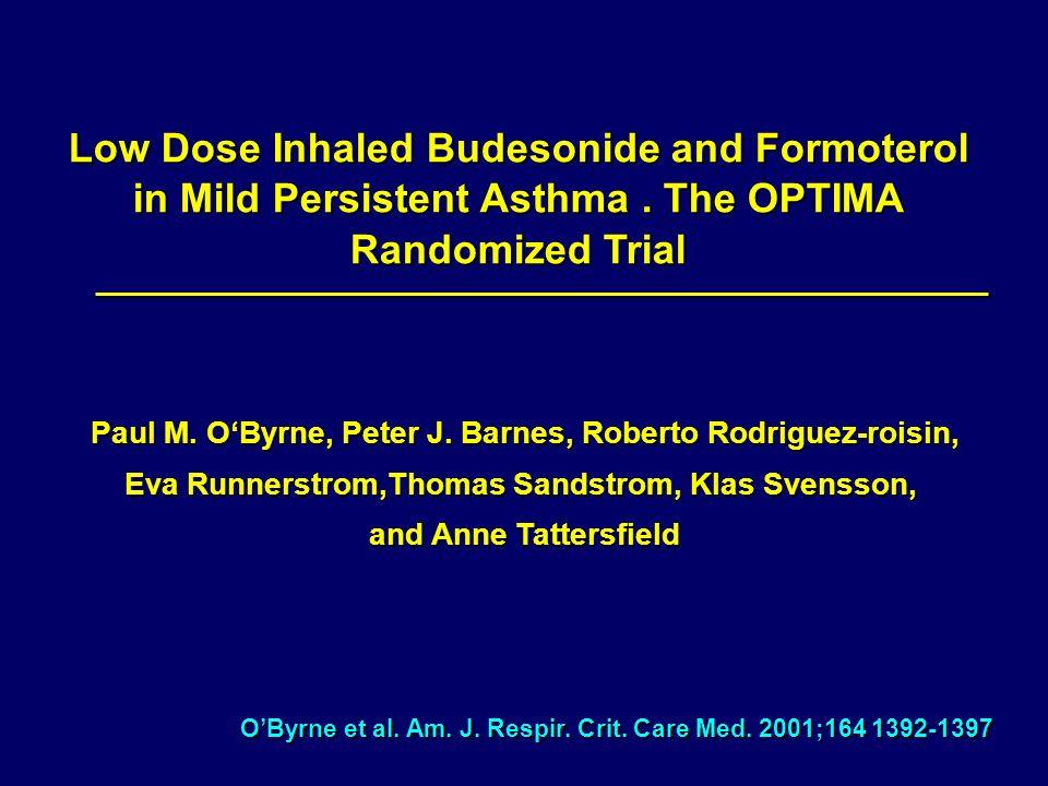 OByrne et al. Am. J. Respir. Crit. Care Med. 2001;164 1392-1397 Low Dose Inhaled Budesonide and Formoterol in Mild Persistent Asthma. The OPTIMA Rando
