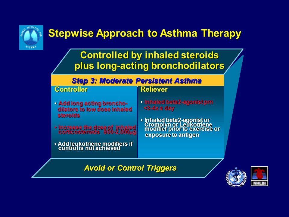 Stepwise Approach to Asthma Therapy Controlled by inhaled steroids plus long-acting bronchodilators Controller Add long acting broncho-Add long acting broncho- dilators to low dose inhaled dilators to low dose inhaled steroids steroids Increase the dose of inhaled corticosteroids 800-2,000 gIncrease the dose of inhaled corticosteroids 800-2,000 g Add leukotriene modifiers if control is not achieved Add leukotriene modifiers if control is not achievedReliever Inhaled beta2-agonist prnInhaled beta2-agonist prn <3-4x a day <3-4x a day Inhaled beta2-agonist or Cromolyn or Leukotriene modifier prior to exercise or Inhaled beta2-agonist or Cromolyn or Leukotriene modifier prior to exercise or exposure to antigen exposure to antigen Step 3: Moderate Persistent Asthma Avoid or Control Triggers
