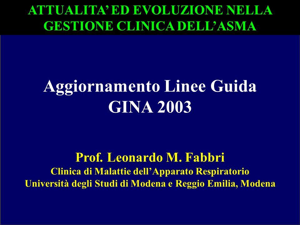 Aggiornamento Linee Guida GINA 2003 Prof. Leonardo M. Fabbri Clinica di Malattie dellApparato Respiratorio Università degli Studi di Modena e Reggio E
