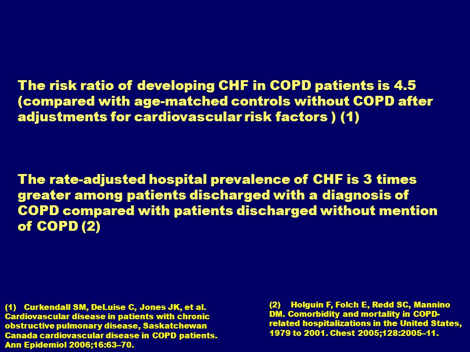 The risk ratio of developing CHF in COPD patients is 4.5 (compared with age-matched controls without COPD after adjustments for cardiovascular risk fa