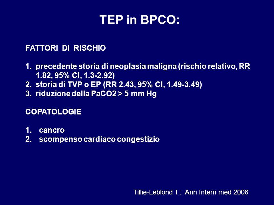 TEP in BPCO: FATTORI DI RISCHIO 1.precedente storia di neoplasia maligna (rischio relativo, RR 1.82, 95% CI, 1.3-2.92) 2.storia di TVP o EP (RR 2.43,