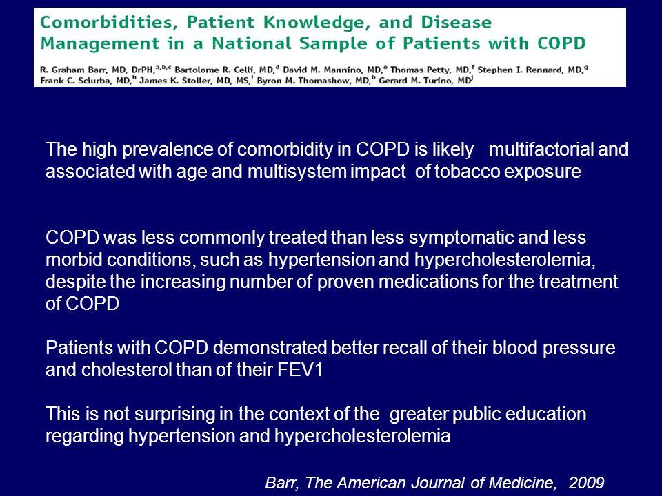 Prevention of exacerbations of chronic obstructive pulmonary diseases with tiotropium, a once-daily inhaled anticholinergic bronchodilator: a randomized trial.Co-morbilità Vascolari (compresa lipertensione) 64% Cardiache 38% Gastrointestinali 48% Metaboliche o nutrizionali 47% Muscolo scheletriche o connettivali 46% Genito-urinarie 27% Neurologiche 22% Niewoehner et al, Ann Intern Med 2005;143:317-326