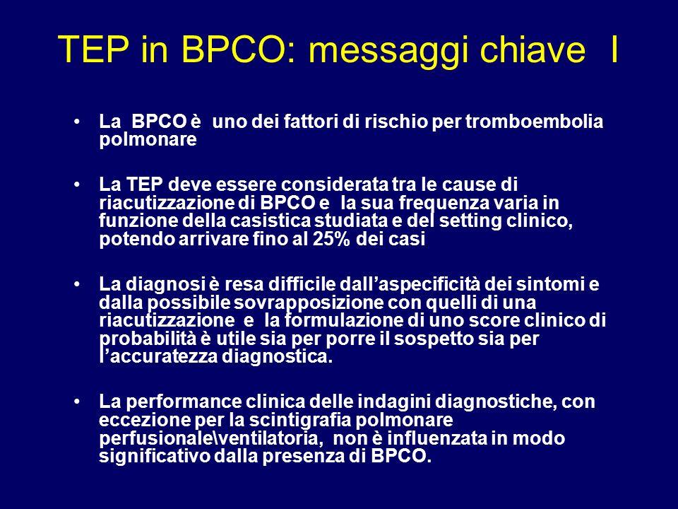 La BPCO è uno dei fattori di rischio per tromboembolia polmonare La TEP deve essere considerata tra le cause di riacutizzazione di BPCO e la sua frequ