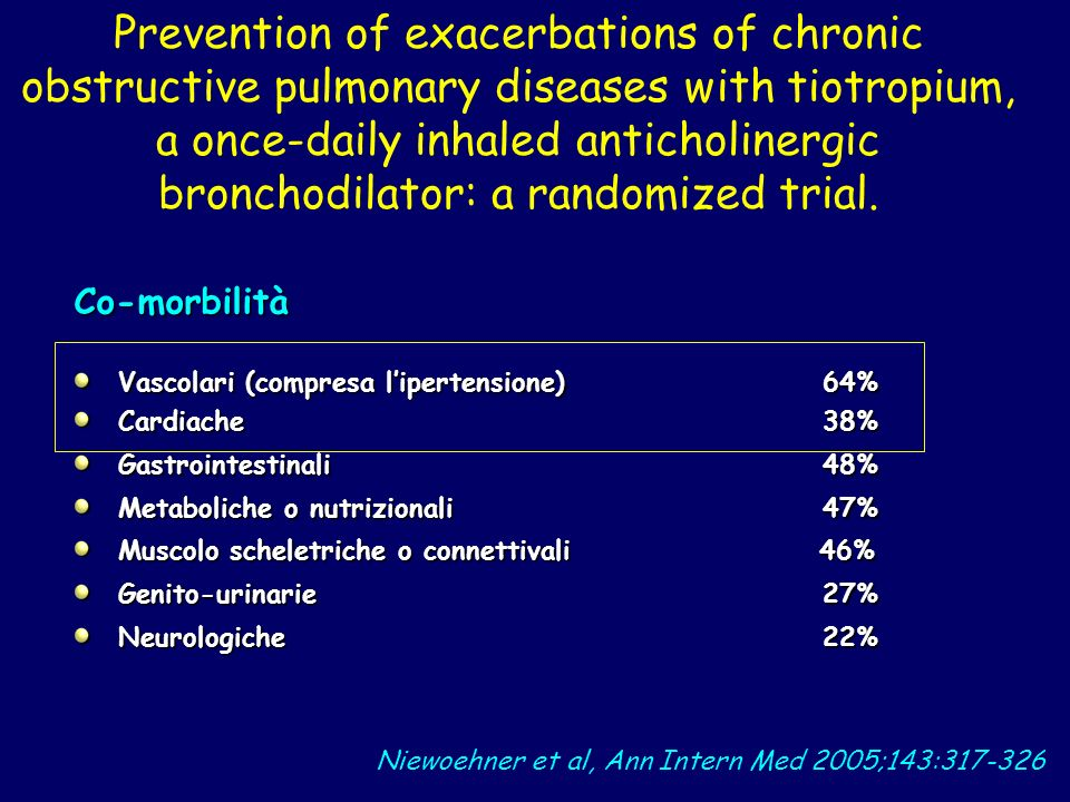 Prevention of exacerbations of chronic obstructive pulmonary diseases with tiotropium, a once-daily inhaled anticholinergic bronchodilator: a randomiz