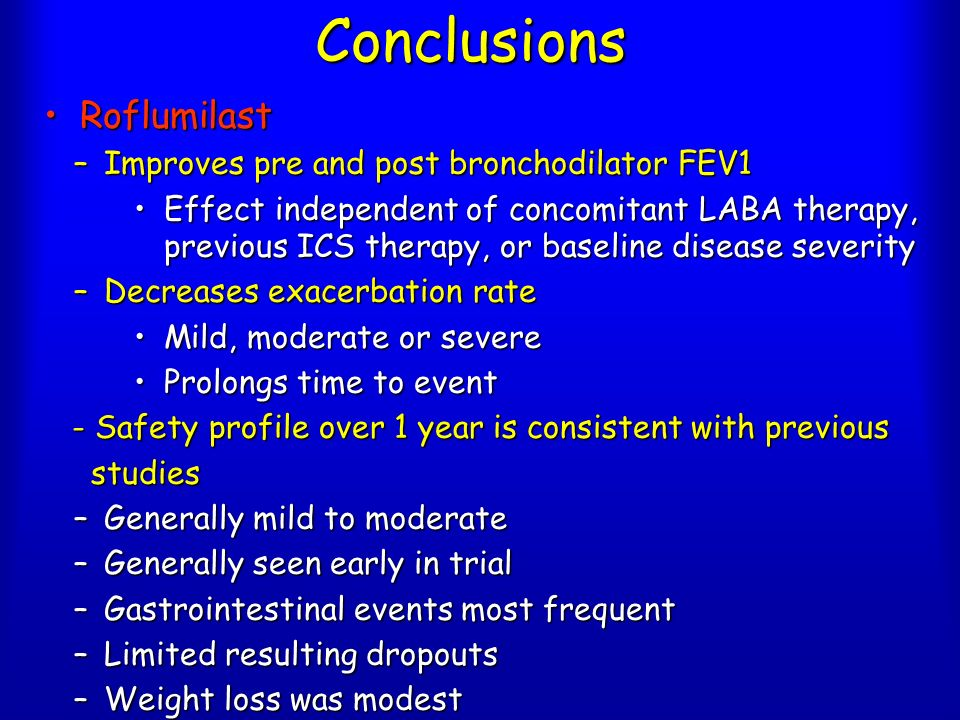 Conclusions RoflumilastRoflumilast –Improves pre and post bronchodilator FEV1 Effect independent of concomitant LABA therapy, previous ICS therapy, or