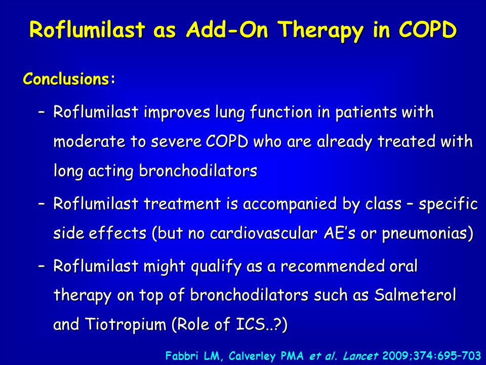 Conclusions: –Roflumilast improves lung function in patients with moderate to severe COPD who are already treated with long acting bronchodilators –Ro