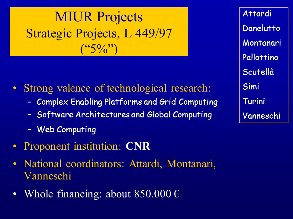 MIUR Projects Strategic Projects, L 449/97 (5%) Strong valence of technological research: –Complex Enabling Platforms and Grid Computing –Software Arc