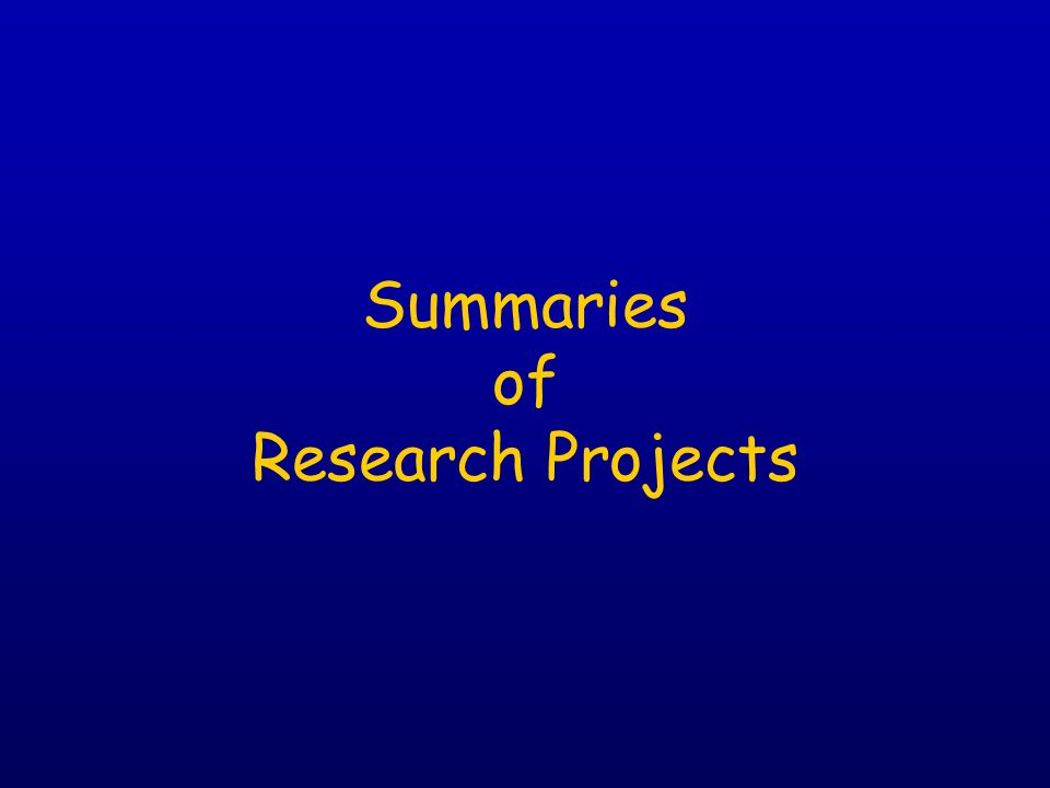 Summaries of Research Projects