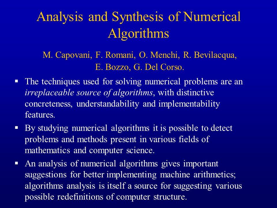 Analysis and Synthesis of Numerical Algorithms M. Capovani, F. Romani, O. Menchi, R. Bevilacqua, E. Bozzo, G. Del Corso. The techniques used for solvi