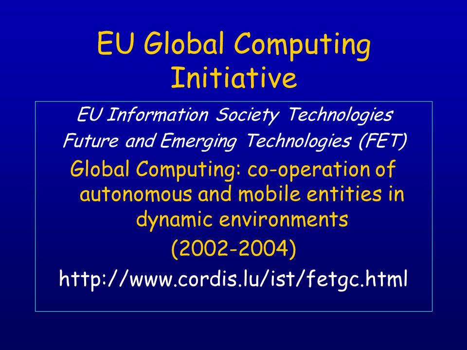 EU Global Computing Initiative EU Information Society Technologies Future and Emerging Technologies (FET) Global Computing: co-operation of autonomous