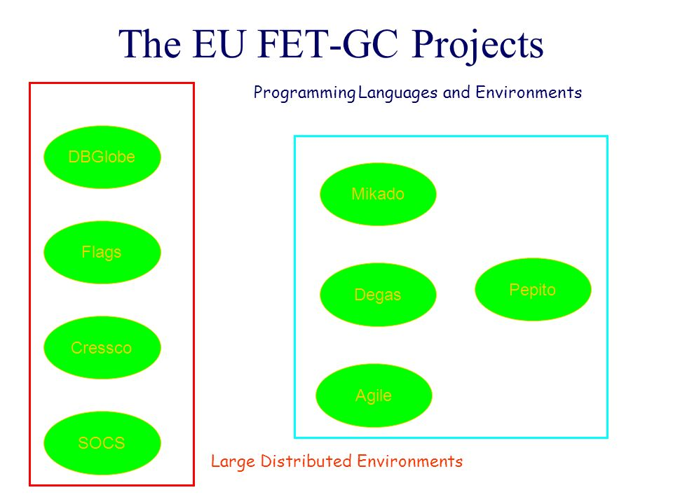 The EU FET-GC Projects DBGlobe Flags Cressco SOCS Mikado Degas Pepito Agile Large Distributed Environments Programming Languages and Environments