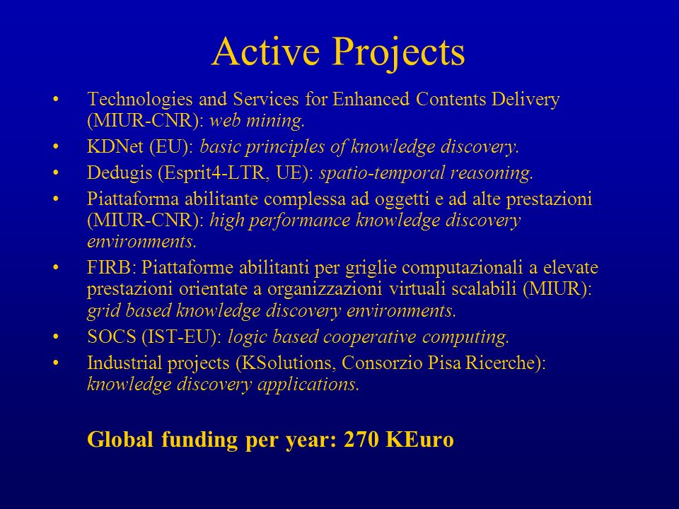 Active Projects Technologies and Services for Enhanced Contents Delivery (MIUR-CNR): web mining. KDNet (EU): basic principles of knowledge discovery.