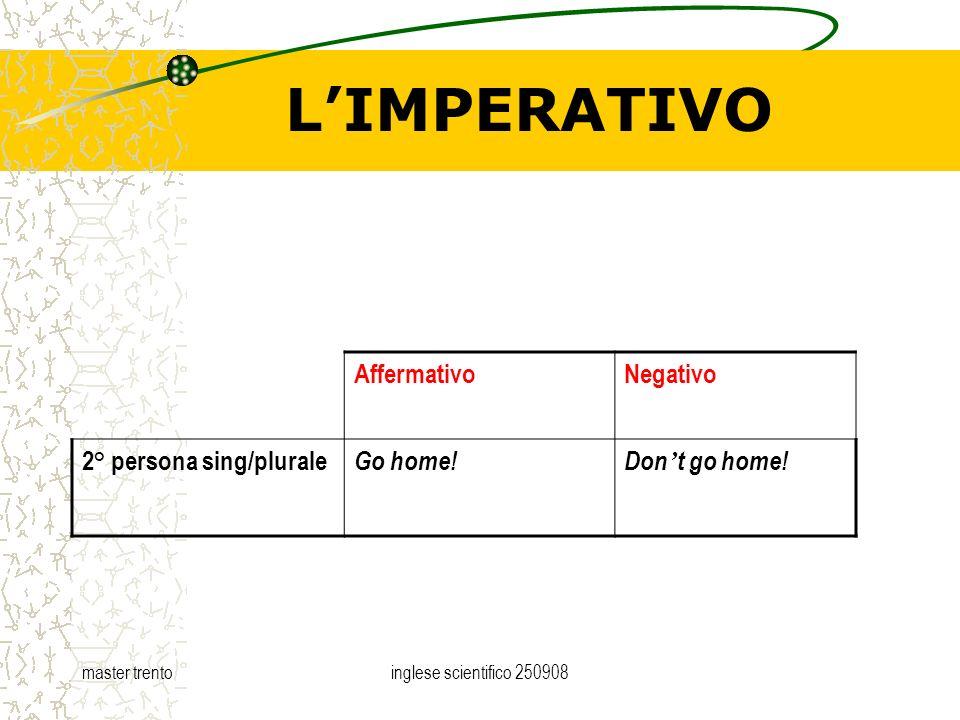 master trentoinglese scientifico 250908 LIMPERATIVO AffermativoNegativo 2° persona sing/plurale Go home!Don t go home!