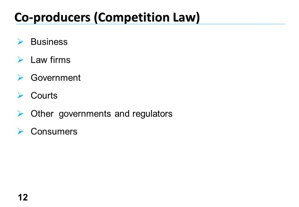 12 Co-producers (Competition Law) Business Law firms Government Courts Other governments and regulators Consumers