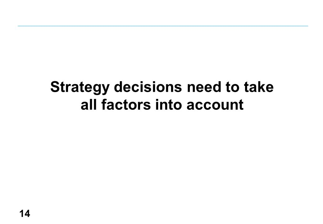 14 Strategy decisions need to take all factors into account