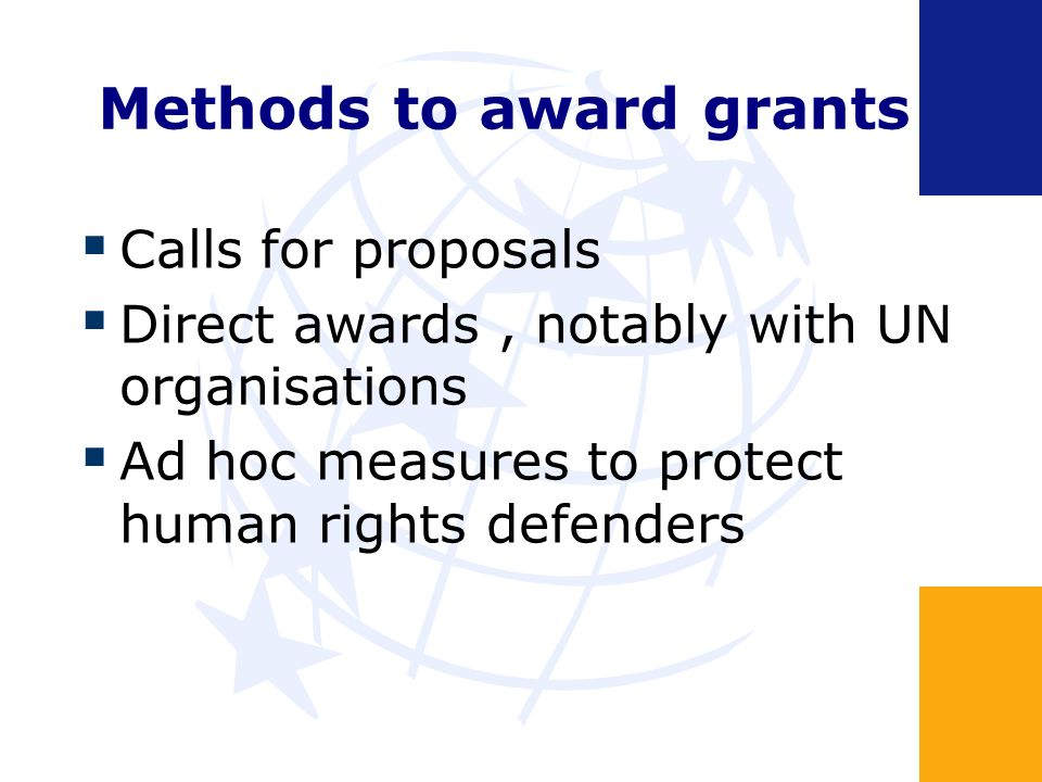 Methods to award grants Calls for proposals Direct awards, notably with UN organisations Ad hoc measures to protect human rights defenders