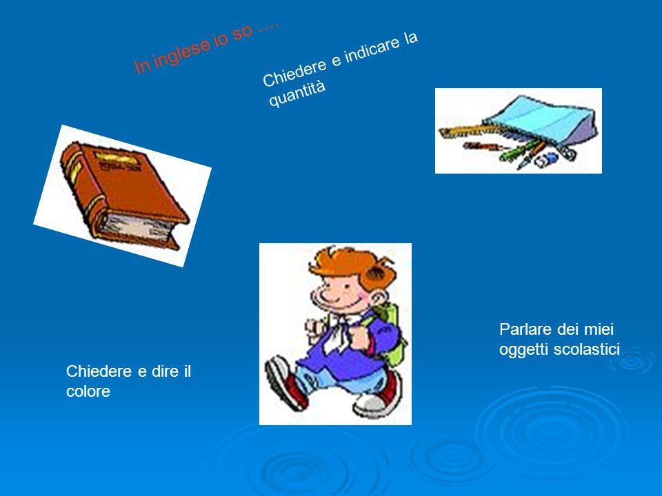 Parlare dei miei oggetti scolastici Chiedere e indicare la quantità Chiedere e dire il colore In inglese io so ….