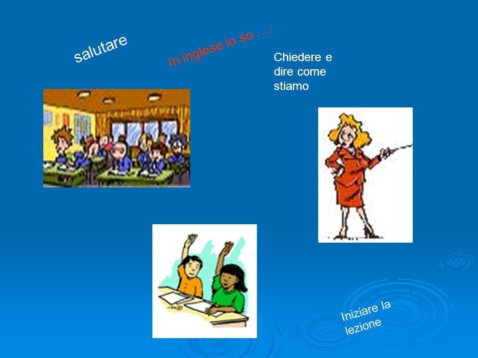 salutare Chiedere e dire come stiamo Iniziare la lezione In inglese io so ….