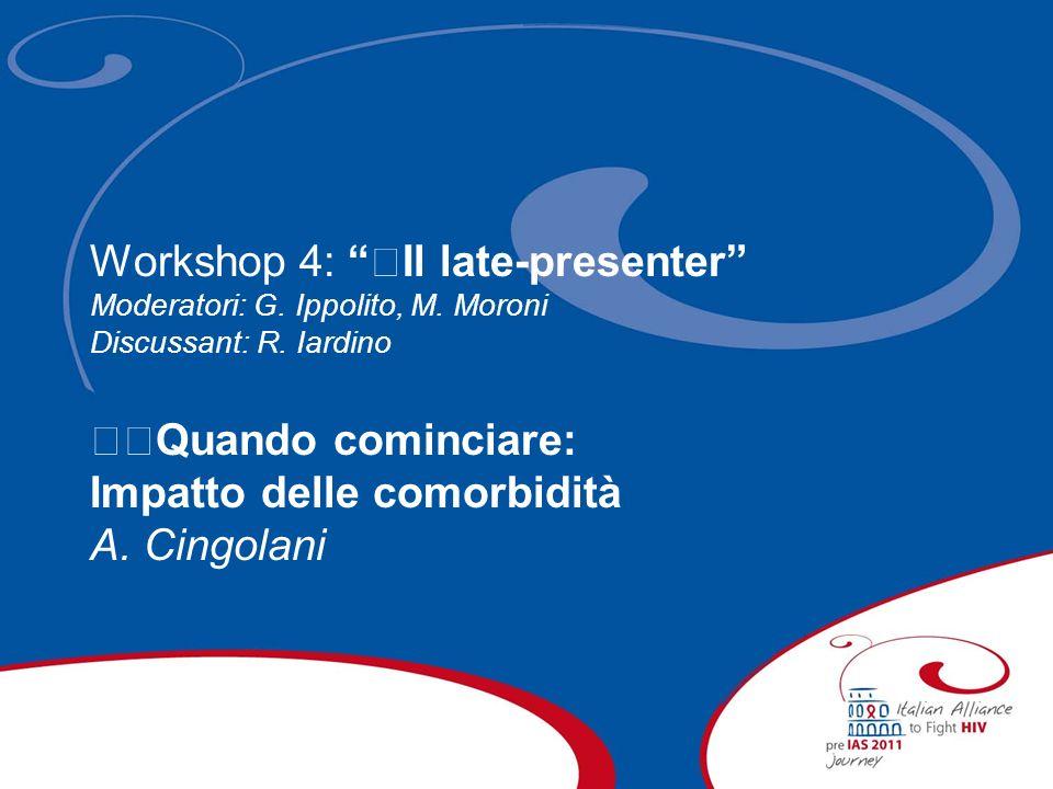 Workshop 4: Il late-presenter Moderatori: G. Ippolito, M.