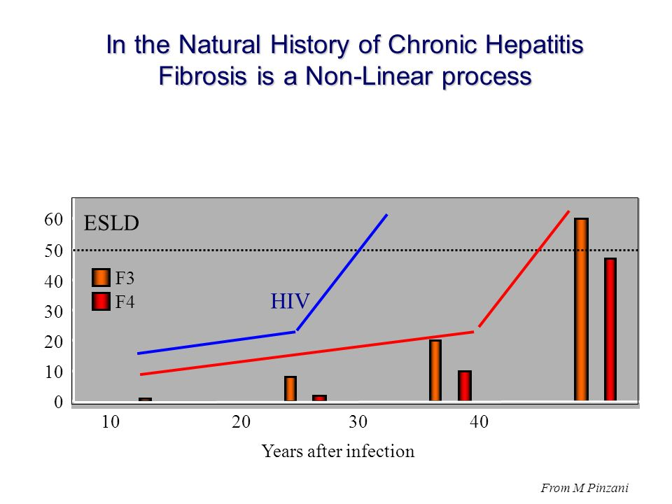 0 10 20 30 40 50 60 10 20 30 40 Years after infection F3 F4 In the Natural History of Chronic Hepatitis Fibrosis is a Non-Linear process ESLD From M Pinzani HIV