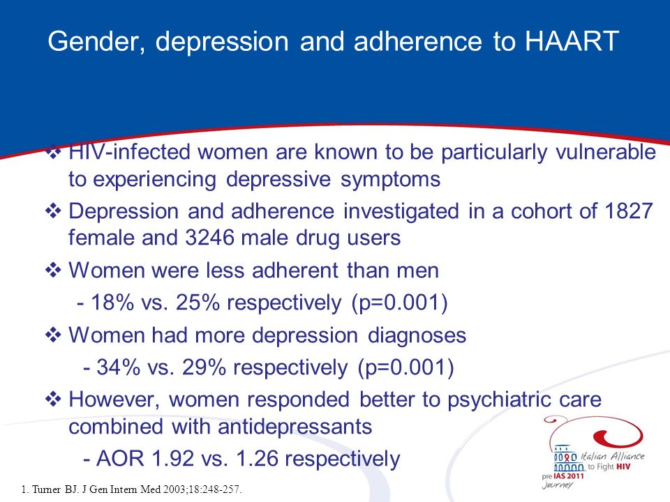 Gender, depression and adherence to HAART HIV-infected women are known to be particularly vulnerable to experiencing depressive symptoms Depression an