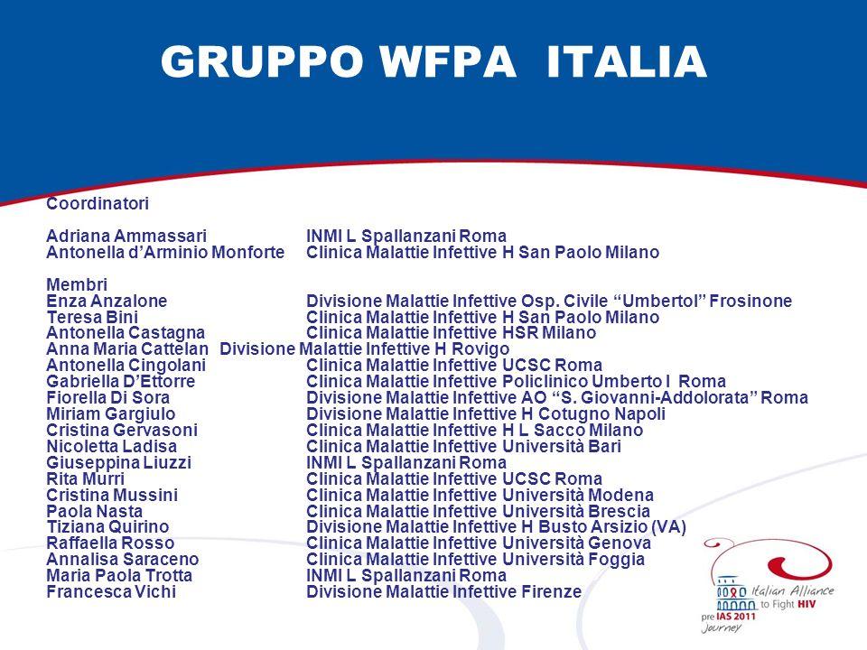 GRUPPO WFPA ITALIA Coordinatori Adriana AmmassariINMI L Spallanzani Roma Antonella dArminio Monforte Clinica Malattie Infettive H San Paolo Milano Mem