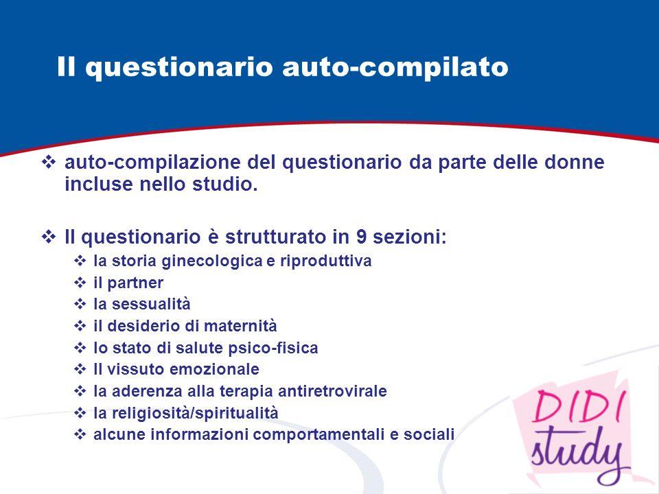 Il questionario auto-compilato auto-compilazione del questionario da parte delle donne incluse nello studio. Il questionario è strutturato in 9 sezion