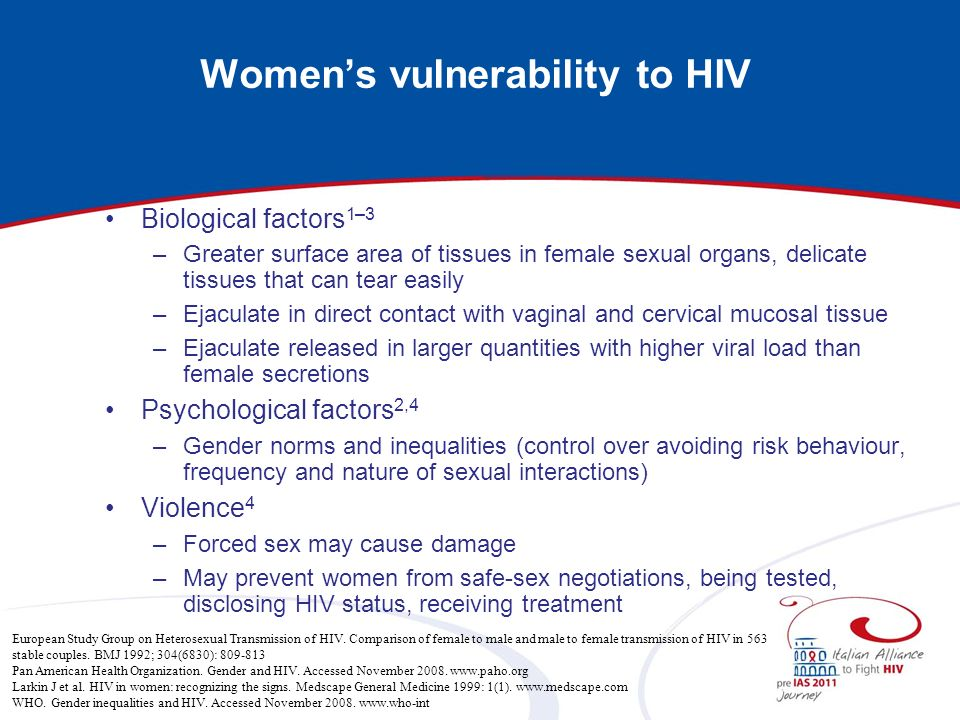 Womens vulnerability to HIV Biological factors 1–3 –Greater surface area of tissues in female sexual organs, delicate tissues that can tear easily –Ej