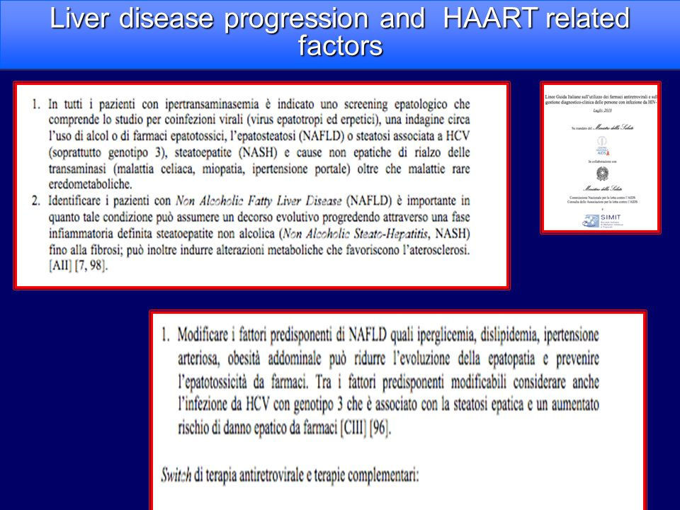 Liver disease progression and HAART related factors