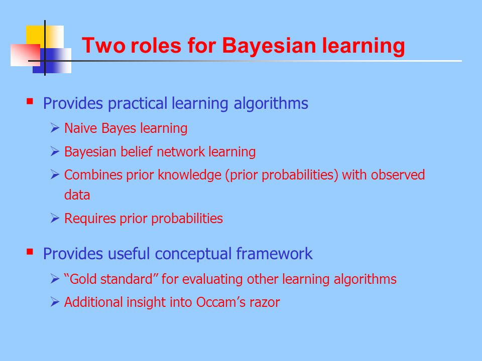 Two roles for Bayesian learning Provides practical learning algorithms Naive Bayes learning Bayesian belief network learning Combines prior knowledge