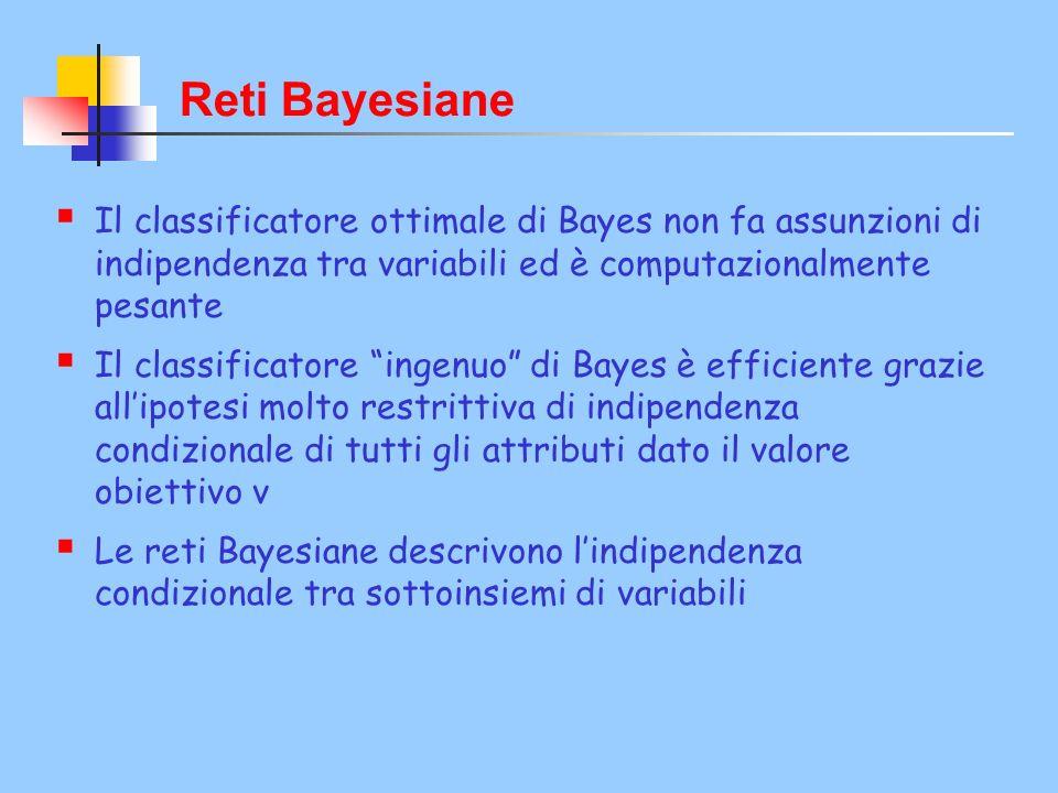 Reti Bayesiane Il classificatore ottimale di Bayes non fa assunzioni di indipendenza tra variabili ed è computazionalmente pesante Il classificatore ingenuo di Bayes è efficiente grazie allipotesi molto restrittiva di indipendenza condizionale di tutti gli attributi dato il valore obiettivo v Le reti Bayesiane descrivono lindipendenza condizionale tra sottoinsiemi di variabili