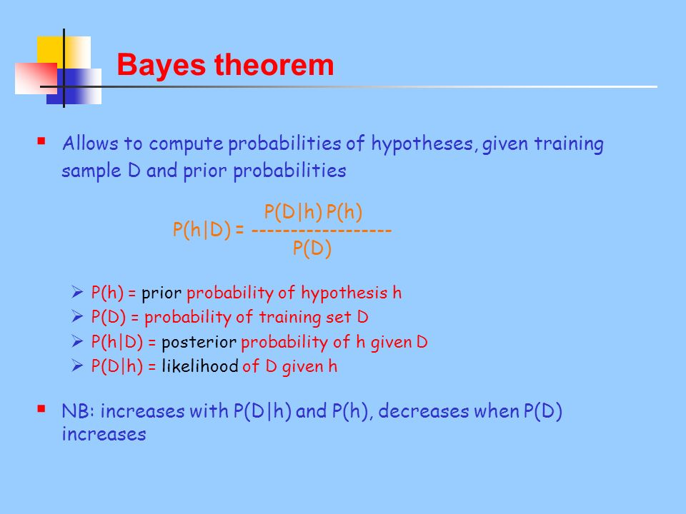 Bayes theorem Allows to compute probabilities of hypotheses, given training sample D and prior probabilities P(D|h) P(h) P(h|D) = ------------------ P(D) P(h) = prior probability of hypothesis h P(D) = probability of training set D P(h|D) = posterior probability of h given D P(D|h) = likelihood of D given h NB: increases with P(D|h) and P(h), decreases when P(D) increases