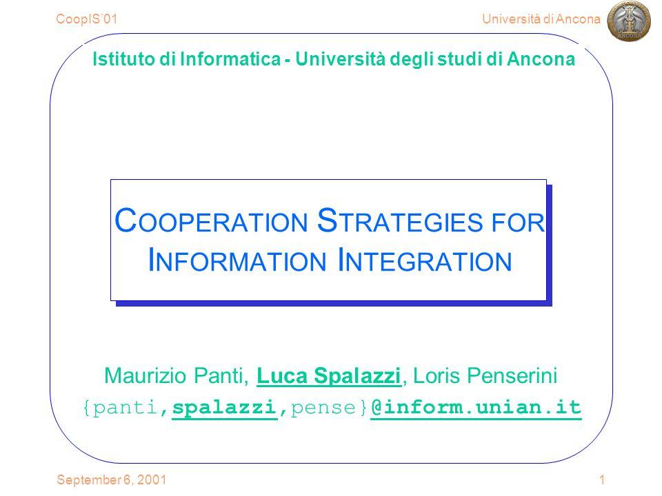 Università di AnconaCoopIS01 September 6, 200122 Rewriting query using views ={ ( pub.