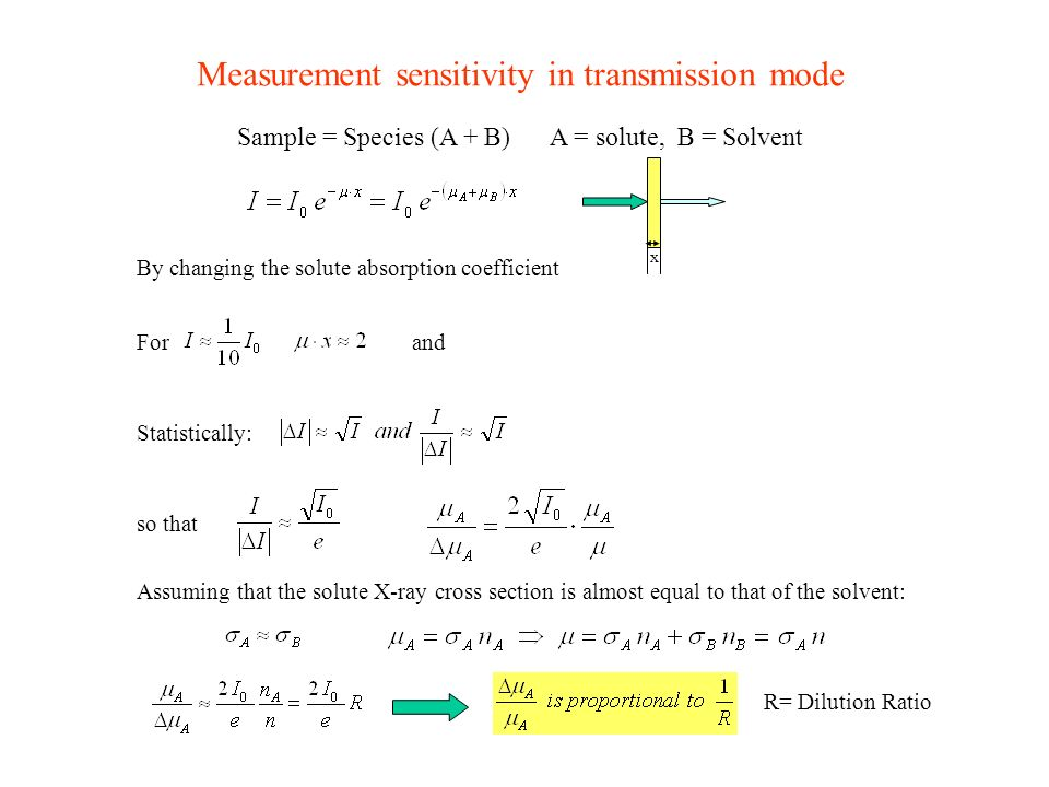 Sample = Species (A + B) Measurement sensitivity in transmission mode x A = solute, B = Solvent By changing the solute absorption coefficient Forand s