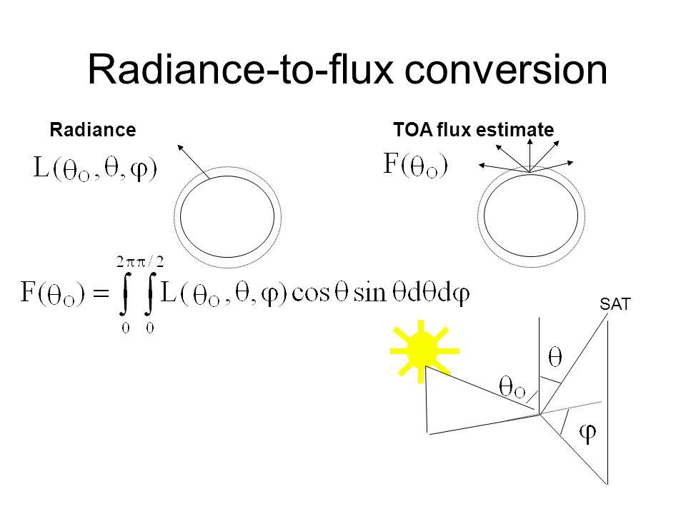 Radiance-to-flux conversion Radiance TOA flux estimate SAT