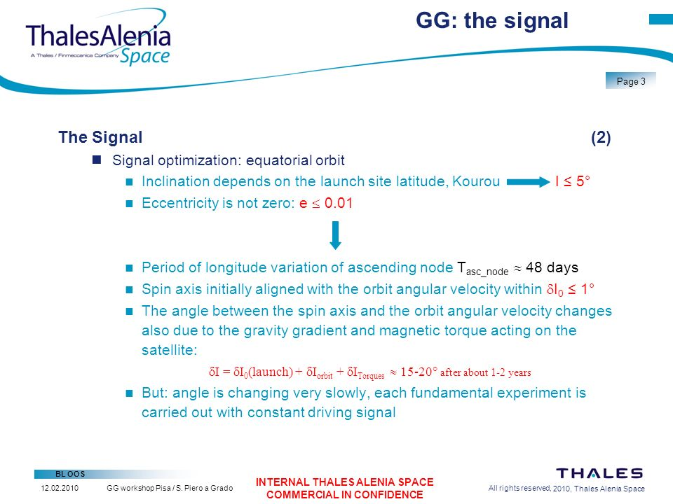 2/26/2010, Thales Alenia Space BL OOS Page 14 GG workshop Pisa / S.