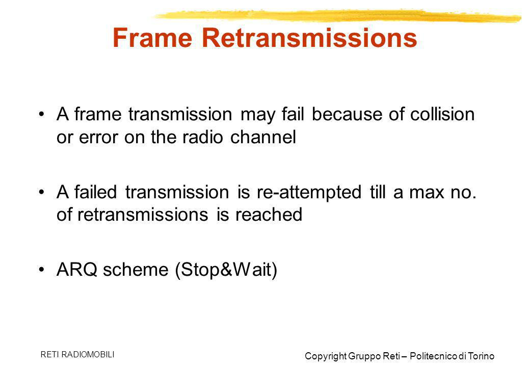 Copyright Gruppo Reti – Politecnico di Torino RETI RADIOMOBILI Frame Retransmissions A frame transmission may fail because of collision or error on th