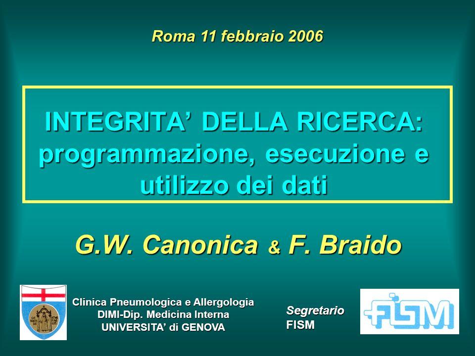 INTEGRITA DELLA RICERCA: programmazione, esecuzione e utilizzo dei dati G.W. Canonica & F. Braido Roma 11 febbraio 2006 Clinica Pneumologica e Allergo
