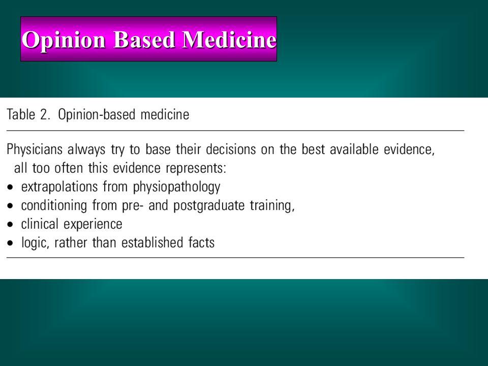 Opinion Based Medicine