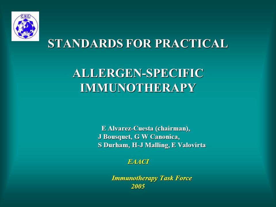 STANDARDS FOR PRACTICAL ALLERGEN-SPECIFIC IMMUNOTHERAPY E Alvarez-Cuesta (chairman), J Bousquet, G W Canonica, S Durham, H-J Malling, E Valovirta EAACI Immunotherapy Task Force 2005