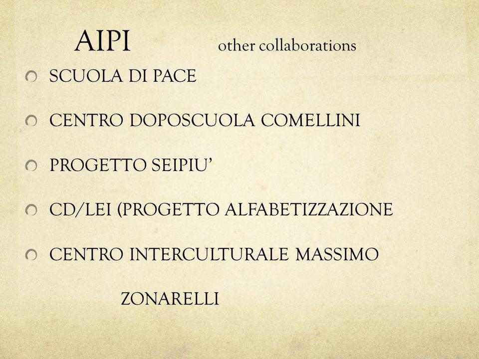 AIPI other collaborations SCUOLA DI PACE CENTRO DOPOSCUOLA COMELLINI PROGETTO SEIPIU CD/LEI (PROGETTO ALFABETIZZAZIONE CENTRO INTERCULTURALE MASSIMO ZONARELLI