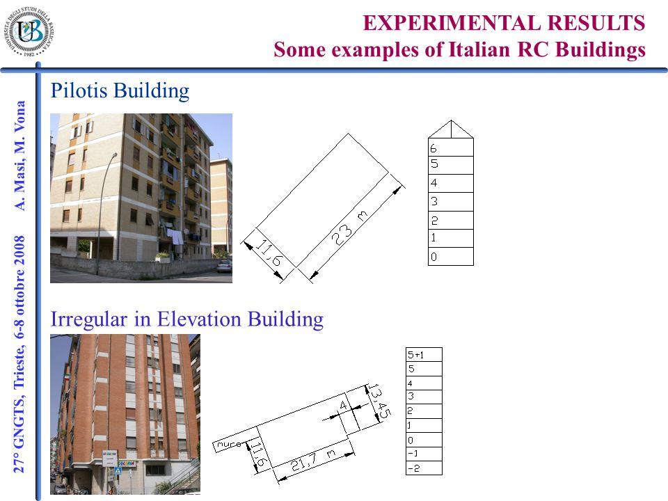 27° GNGTS, Trieste, 6-8 ottobre 2008 A. Masi, M. Vona EXPERIMENTAL RESULTS Some examples of Italian RC Buildings Pilotis Building Irregular in Elevati