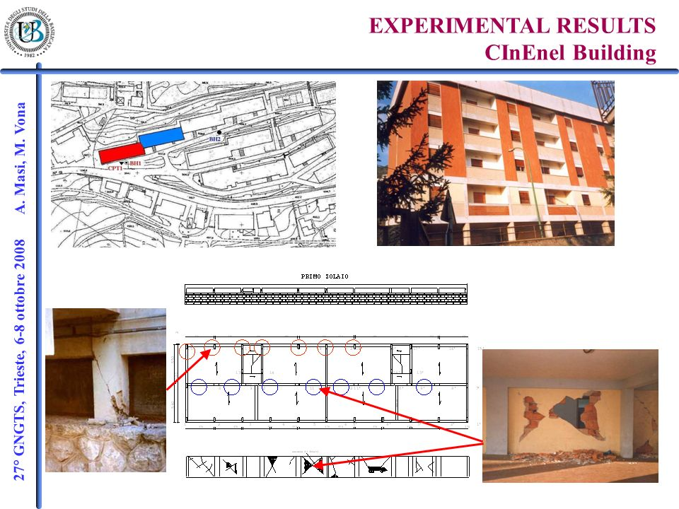 27° GNGTS, Trieste, 6-8 ottobre 2008 A. Masi, M. Vona EXPERIMENTAL RESULTS CInEnel Building